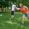 Blue Ridge, Va. resident Ted Puckett plays a game of murbles with Salem, Va. resident Ginger Taylor June 16 at Pipestem State Park. <br /> Brad Davis/The Register-Heral