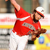 Independence starting pitcher Brian Sexton delivers during the Patriots' 11-6 win over Fairmont Senior Friday night in Charleston.<br /> Brad Davis/The Register-Herald