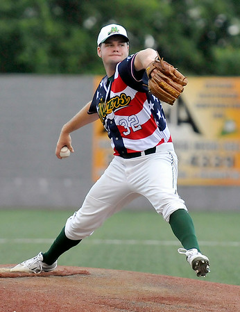 West Virginia starter Chase Boster delivers against the Champion City Kings Monday night at Linda K. Epling Stadium.<br /> Brad Davis/The Register-Herald