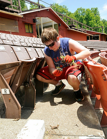 "Volunteer and Independence High student Evan Cook examines a piece of debris as he pulls weeds at Theatre West Virginia's Cliffside Amphitheatre Sunday afternoon at Grandview State Park. Cook, who took a theatre class at Indy and aspires to one day become a voice actor and animator, was helping out with the preseason cleanup and by 1:00 p.m. he'd found a plastic, heart-shaped American flag ring, a button to a pair of pants, discarded pantyhose with some other unknown debris inside and he'd stepped on a huge piece of gum, which he described as ""minty smelling.""<br /> Brad Davis/The Register-Herald"