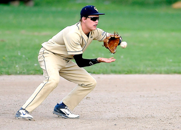 Greenbrier West shortstop Mikey Goddard gets a good hop as he fields a ground ball against Meadow Bridge during sectional action Monday evening. Brad Davis/The Register-Herald