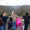 Brad Davis/The Register-Herald<br /> Fans young and old cram together for the best view they can get during the 35th Annual Bridge Day event Saturday afternoon at the New River Gorge Bridge.