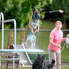 Brad Davis/The Register-Herald<br /> Frisco, a 4-year-old Belgian Malinois, leaps from one of the diving boards at the New River Park swimming pool as he fetches a toy thrown by owner Laura Plumley, right, during the Humane Society of Raleigh County's Puppy Pool Party Tuesday evening. The pool is closing for the season, but it was open Tuesday for one last swim exclusively for the Beckley area's four-legged friends and their owners.