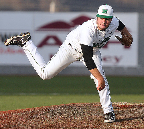 Brad Davis/The Register-Herald<br /> Marshall starting pitcher Chase Boster delivers during the Thundering Herd's win over the 49ers Friday night at Linda K. Epling Stadium.