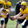 Brad Davis/The Register-Herald<br /> West Virginia quarterback Skyler Howard hands off to running back Rushel Shell prior to the Mountaineers' scrimmage Saturday afternoon at the Greenbrier.
