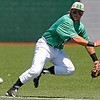 Brad Davis/The Register-Herald<br /> Marshall second baseman Aaron Bossi ranges to his left prior to diving for and snagging a sharp ground ball during the Thundering Herd's 8-6 win over Charlotte Sunday afternoon at Linda K. Epling Stadium.