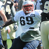 Rick Barbero/The Register-Herald<br /> Shag Mason, of Patriots blocking a Saints player during the New Orleans Saints and New England Patriots joint practice held at The Greenbrier Resort in White Sulphur Springs Wednesday morning.