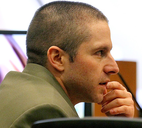 Brad Davis/The Register-Herald<br /> 32-year-old Brian Daniel Hayslett looks on during his first degree murder trial in Raleigh County Circuit Court Friday afternoon.