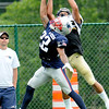 Rick Barbero/The Register-Herald<br /> Benjamin Watson, of New Orleans, right, pulls in a touchdown catch against Robert McClain, of New England during the New Orleans Saints and New England Patriots joint practice held at The Greenbrier Resort in White Sulphur Springs Thursday morning.