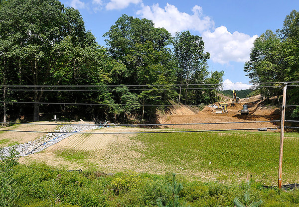 Brad Davis/The Register-Herald<br /> The view from the roadway as Construction continues on an Affinity Coal project situated near the foot of the hill along Independence Road Friday afternoon.