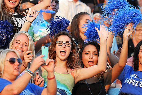Rick Barbero/The Register-Herald<br /> Princeton fans cheering during game against Shady Spring at Hunnicut Stadium in Princeton Friday night.