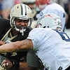 Rick Barbero/The Register-Herald<br /> Shag Mason, of New England, right, blocks Markus Pierce-Brewster during the New Orleans Saints and New England Patriots joint practice held at The Greenbrier Resort in White Sulphur Springs Thursday morning.