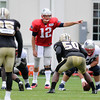 Rick Barbero/The Register-Herald<br /> Tom Brady directing is offence against New Orleans during the New Orleans Saints and New England Patriots joint practice held at The Greenbrier Resort in White Sulphur Springs Thursday morning.
