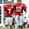Rick Barbero/The Register-Herald<br /> Ryan Lindley, left, and Tom Brady of the Patriots working out during the New Orleans Saints and New England Patriots joint practice at The Greenbrier Resort in White Sulphur Springs Wednesday morning.