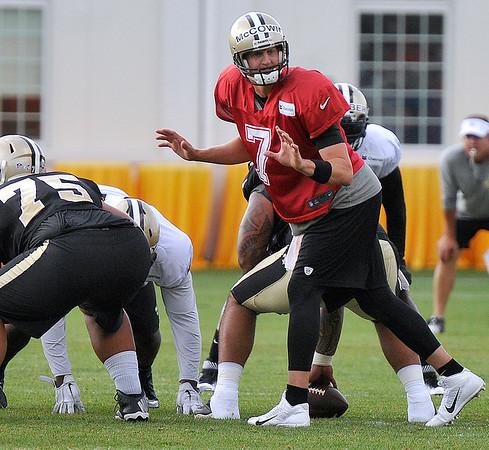 Brad Davis/The Register-Herald<br /> Backup quarterback Luke McCown audibles during Saints practice Sunday afternoon in White Sulphur Springs.