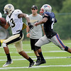 Rick Barbero/The Register-Herald<br /> Joseph Morgan, of Saints, left, breaks away from a Saints defender during the New Orleans Saints and New England Patriots joint practice held at The Greenbrier Resort in White Sulphur Springs Wednesday morning.