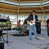 Brad Davis/The Register-Herald<br /> Blues artist Zac Harmon (middle) jams with his band at Word Park during the Simply Jazz & Blues Festival Sunday evening in Beckley.