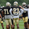 Rick Barbero/The Register-Herald<br /> Saints head coach Sean Payton talks with his player during the New Orleans Saints and New England Patriots joint practice held at The Greenbrier Resort in White Sulphur Springs Wednesday morning.