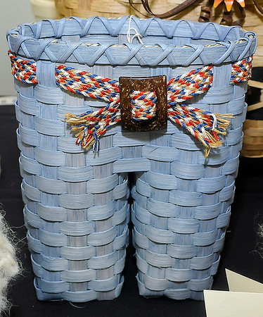 Brad Davis/The Register-Herald<br /> This is what Sinclair's demonstration basket will ultimately look like, a pair of blue jeans, once completed.