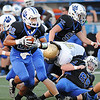 Rick Barbero/The Register-Herald<br /> Phillip Jones, 22, of Princeton, gaining some yardage against Shady Spring at Hunnicut Stadium in Princeton Friday night.