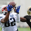 Rick Barbero/The Register-Herald<br /> Josh Boyce, of New England, left, pulls in a touchdown pass againstBrian Dixon, of New Orleans, during the New Orleans Saints and New England Patriots joint practice held at The Greenbrier Resort in White Sulphur Springs Thursday morning.