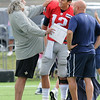 Rick Barbero/The Register-Herald<br /> Rob Ryan, Saints defensive coordinator, left, jokes with Tom Brady, of the Patriots during the New Orleans Saints and New England Patriots joint practice held at The Greenbrier Resort in White Sulphur Springs Wednesday morning.