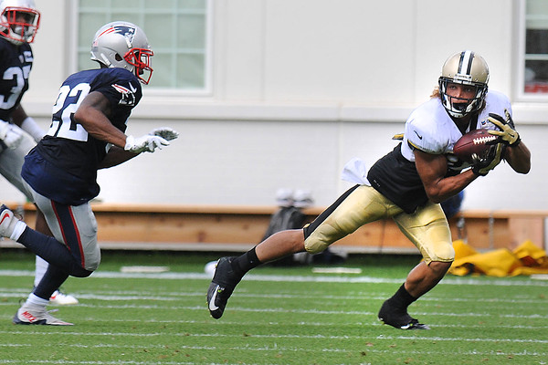 Rick Barbero/The Register-Herald<br /> New Orleans Saints and New England Patriots joint practice at The Greenbrier Resort in White Sulphur Springs Wednesday morning.