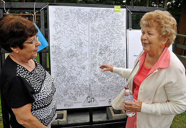 Brad Davis/The Register-Herald<br /> Lois Lilly-Holstein, left, and Iris Lilly-Cooper talk a little family history as they look over a massive, heavily-researched family tree that traces nearly every known relative during the annual Lilly Family Reunion Saturday afternoon in Ghent.
