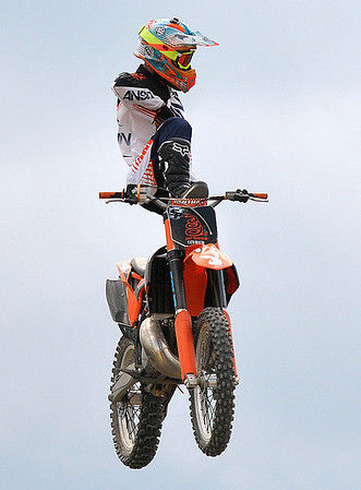 Brad Davis/The Register-Herald<br /> Philadelphia, PA's Jake Goodyear defies gravity with a mid-air stunt during an FMX Motocross event Sunday afternoon at the State Fair in Fairlea.