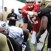 Rick Barbero/The Register-Herald<br /> Tom Brady, of Patriots, directing his offence durin the New Orleans Saints and New England Patriots joint practice held at The Greenbrier Resort in White Sulphur Springs Wednesday morning.