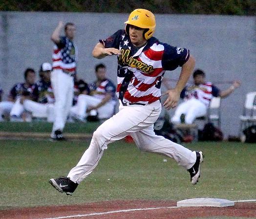 Brad Davis/The Register-Herald<br /> West Virginia's Zach Sterry hustles around third base to score a run during the Miners' final regular season home game against Jamestown Wednesday night at Linda K. Epling Stadium.