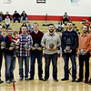 Members of the Independence High School Basketball Hall of Fame were inducted Friday night prior to their basketball game against Greenbrier West. From left: <br /> Tim Coleman, Jonathan Wood, Jimmy Barton with his son Atlas, Bryce Shiflett, John Snuffer, Jeremy Buchanan, Colton Ratcliff, Shawn Pack, Doug Shrewsbury Sr. accepting on behalf of his son, Doug Shrewsbury Junior and boys coach Chad Perkins.