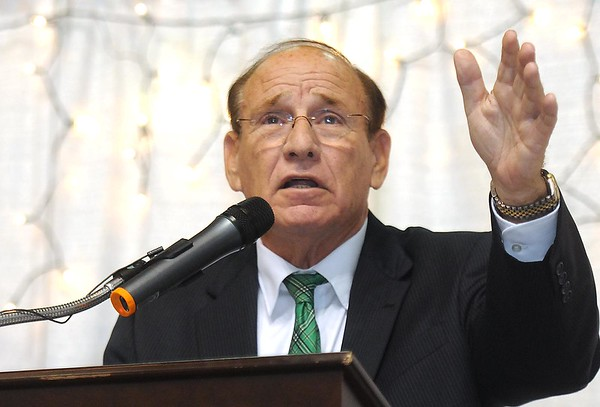 """Former Marshall football coach Bob Pruett, spoke during the """"Spirit of Beckley"""" awards fundraiser dinner held at the Beckley-Raleigh County Convention Center Monday night. This year's award recipient was the late Mel Hancock."""