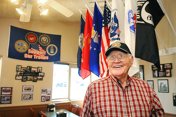 """Rick Barbero/The Register-Herald<br /> Milburn Pack celebrated is 90th birthday with his veteran friends at Ryan's Restaurant on Eisenhower Drive in Beckley. Pack served in the US Marine Corps from 1941-1944 during World War ll. He was a riffle expert and trained new recuits. He was on the USS Shangri-LA for 14 months and earned two battle stars in Japan and Okinawa. He's been married to his wife, Margaret """"Peg"""" Pack for 48 years and has two children, his son Grover Fredrick and daughter Brenda Gay Givens."""