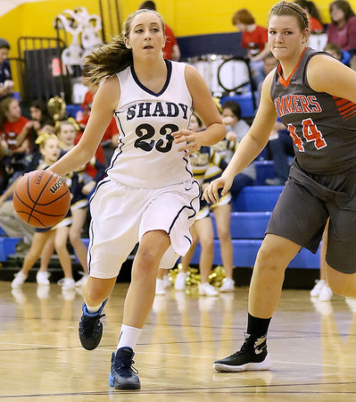 Brad Davis/The Register-Herald<br /> Shady Spring's Morgan Brown hustles up the court during a home game against Summers County December 3.