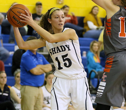 Brad Davis/The Register-Herald<br /> Shady Spring's Brianna Bevil looks for an open teammate during a home game against Summers County December 3.