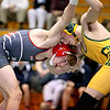 Brad Davis/The Register-Herald<br /> Independence's Wil Cox takes on Greenbrier East's Logan Evans in a 132-pound weight class matchup during the Coalfield Invitational Saturday evening in Fairlea. Cox would pin Evans for the win.