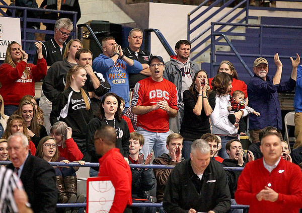 Brad Davis/The Register-Herald<br /> Greater Beckley Christian fans react to action between the Crusaders and the Tug Valley Panthers Friday night at the Beckley-Raleigh County Convention Center.