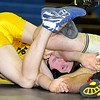 Brad Davis/The Register-Herald<br /> Shady Spring's Trey Carr, left, grapples with Nicholas County's Matt Moore in a 152-pound weight class matchup Saturday afternoon at Shady Spring High School. Moore would win the match.