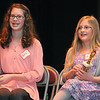Rick Barbero/The Register-Herald<br /> Katie Mills, Raleigh Educational Association of Christian Homeschoolers, left spelled basmati correctly to win the Raleigh County Middle School Spelling Bee and her sister, Kelly Mills, spelled Vasmati wrong and was the runner-up in the competition that was held at Woodrow Wilson H.S. Auditorium Wednesday morning.