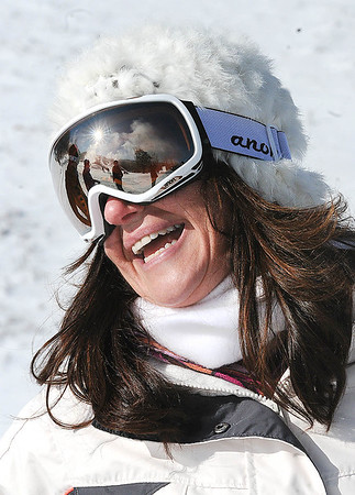 Rick Barbero/The Register-Herald<br /> Deputy secretary of commerce and commissioner of tourism, Amy Shuler Goodwin, after coming down a slope at Winterplace Ski Resort during the hosted event the West Virginia of Division of Tourism held a go outside and ski in celebration of learn to ski and snowboard month.