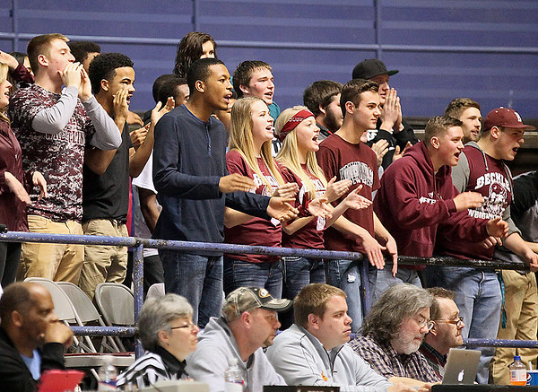 Brad Davis/The Register-Herald<br /> Woodrow Wilson students made sure the Logan bench, which was situated directly in front of them, could hear loud and clear as they took on the Flying Eagles Wednesday night at the Beckley-Raleigh County Convention Center.