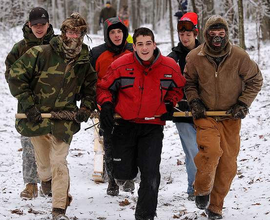 Brad Davis/The Register-Herald<br /> Scouts continue to their next station during the Boy Scouts of America's Klondike Derby event January 24 at Churchlands Camp off Pluto Road near Shady Spring.