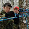 Brad Davis/The Register-Herald<br /> Scouts work at the shelter building station during the Boy Scouts of America's Klondike Derby event January 24 at Churchlands Camp off Pluto Road near Shady Spring.