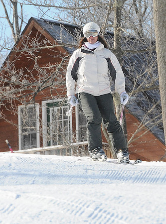 Rick Barbero/The Register-Herald<br /> Deputy secretary of commerce and commissioner of tourism, Amy Shuler Goodwin skiing at Winterplace Ski Resort during the hosted event the West Virginia of Division of Tourism held a go outside and ski in celebration of learn to ski and snowboard month.