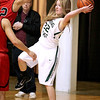 Brad Davis/The Register-Herald<br /> Wyoming East's Gabby Lupardus looks for an open teammate during Big Atlantic Classic action Wednesday night at the Beckley-Raleigh County Convention Center.