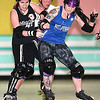 "Brad Davis/The Register-Herald<br /> Beckley Area Derby Dames Lulu ""LuC4"" Mason, left, and Erin Hart, right, battle for position as Kelly ""Burn n' Kell"" Elkins, background middle, gives chase during a combined Dames and All-Stars practice Sunday afternoon at the MacArthur Skating Rink. Hart, right, is one of nine Beckley Area Derby Dames Pennsylvania-bound for February's Battle of the All-Stars States Tournament in Hatfield, just North of Philadelphia."