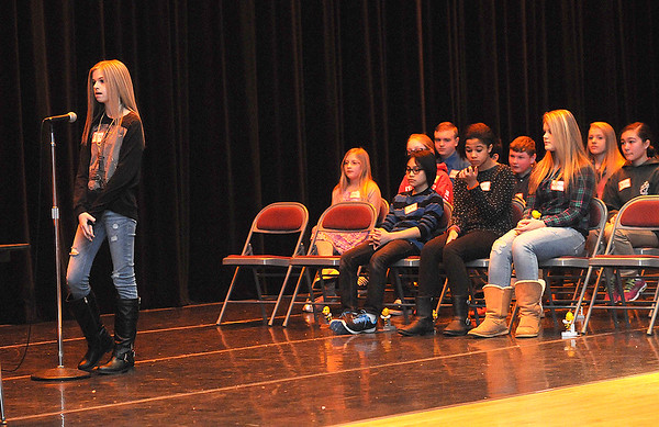 Rick Barbero/The Register-Herald<br /> Raleigh County Middle School Spelling Bee held at Woodrow Wilson H.S. Auditorium Wednesday morning.