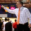 Brad Davis/The Register-Herald<br /> Gilmer County head coach Steve Shuff directs his team Thursday night against Greater Beckley Christian.