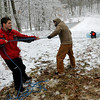 Brad Davis/The Register-Herald<br /> Scouts work at the survival rope throw station during the Boy Scouts of America's Klondike Derby event January 24 at Churchlands Camp off Pluto Road near Shady Spring.